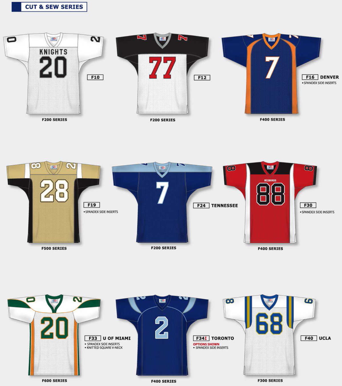 F10 & F12 Custom Football Jerseys