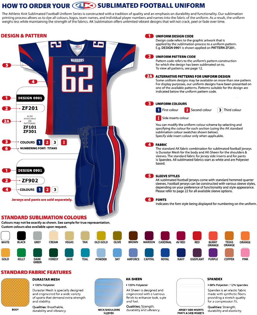 How to choose your sublimated American Football Gridiron uniform