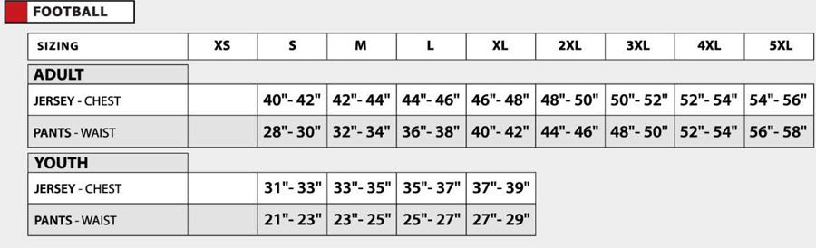 AK Football Jersey Sizes