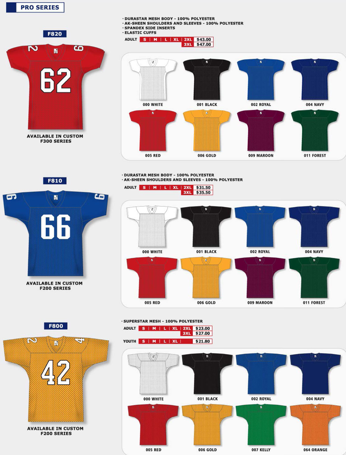 TF33 Stock Touch Football Jerseys