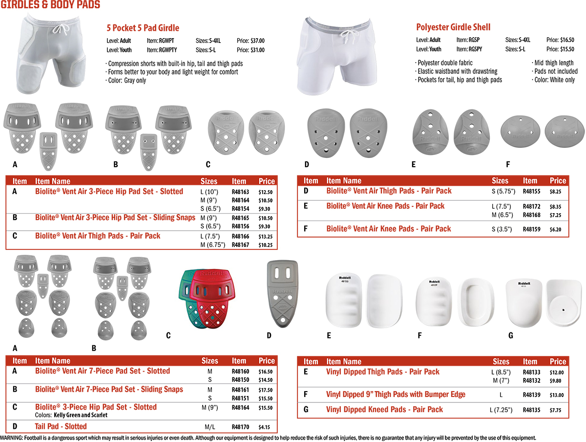 Riddell BioLite Vent Air American Football Body Pads