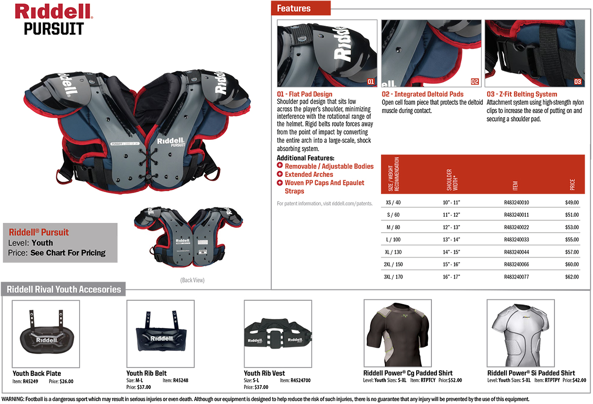 Riddell Rival Youth American Football Shoulder Pads