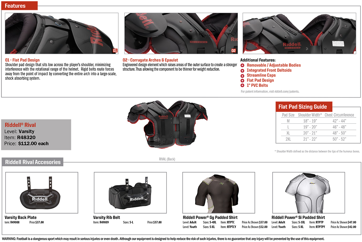 Riddell Rival American Football Shoulder Pads
