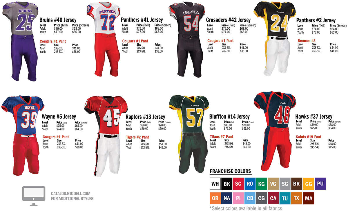 Riddell High Performance Football Jerseys and Pants
