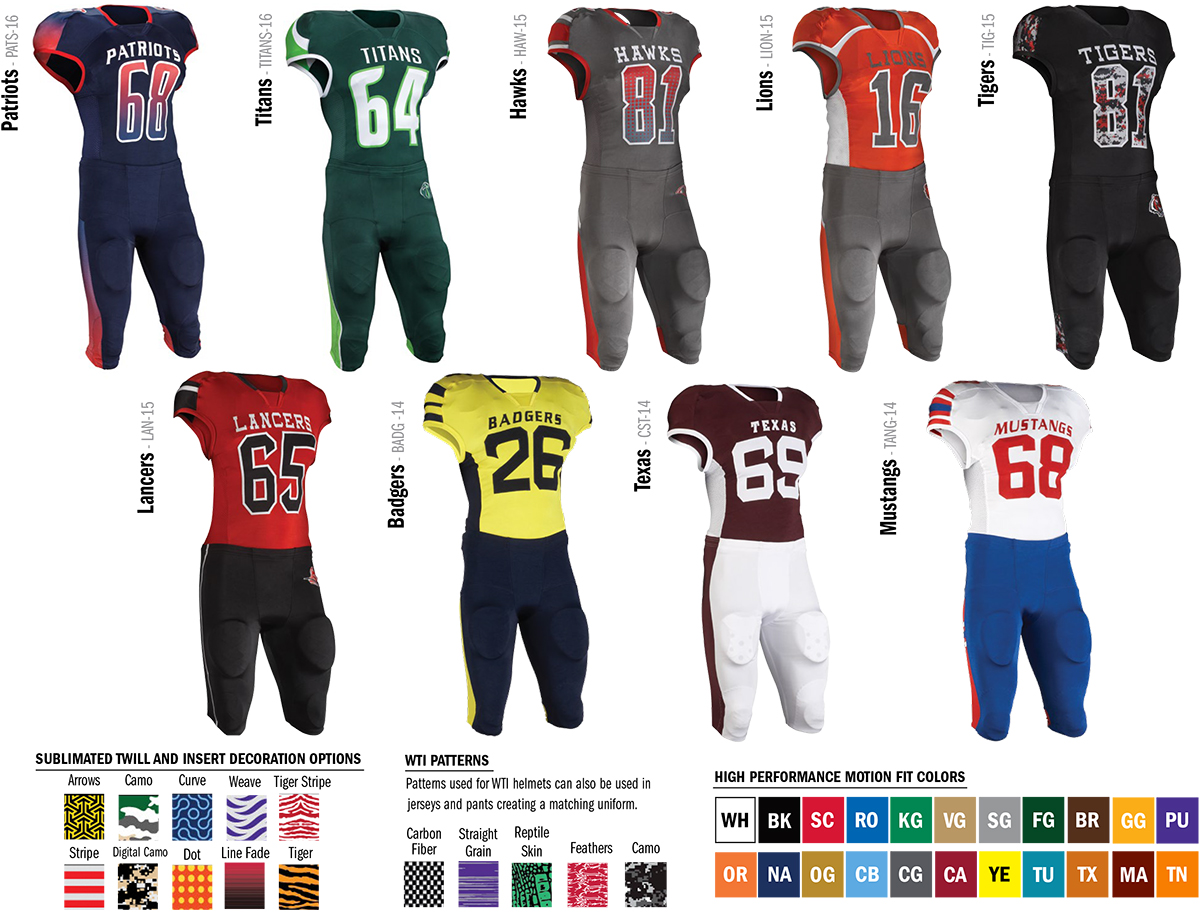 Riddell High Performance Motion Fit Football Jerseys and Pants