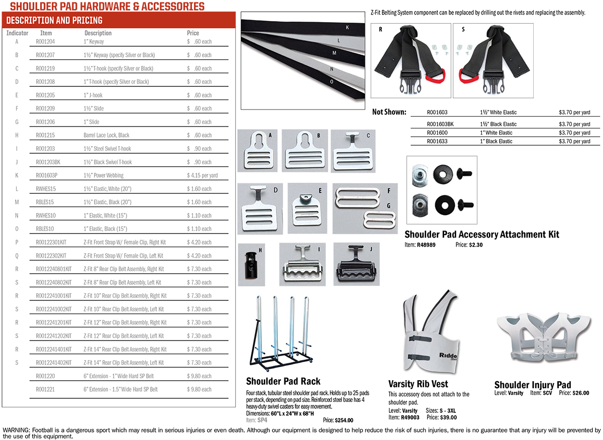 Riddell American Football Shoulder Pad Hardware & Accessories